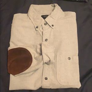 JCrew elbow patch shirt in dove gray